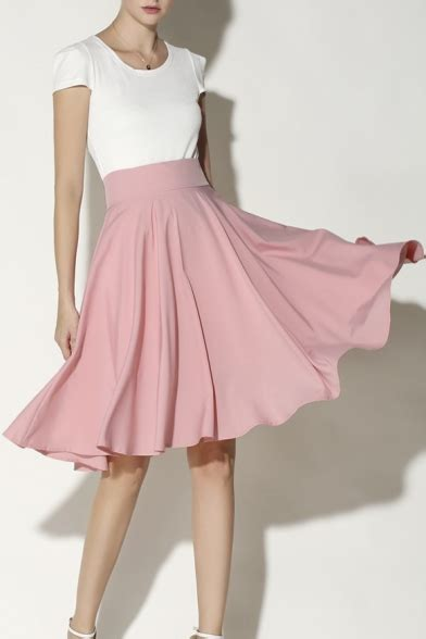 Womenu0026#39;s Fashion High Rise Solid Color Midi A-Line Pleated Skirt - Beautifulhalo.com