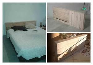 Lit En Bois : t te de lit en bois de palette pallet bed headboard ~ Melissatoandfro.com Idées de Décoration