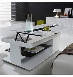 Table Basse Relevable Laque Blanche Et Verre Noir Deco