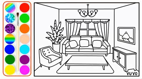 draw living room  coloring pages  kids youtube