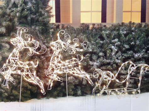 diy wire frame christmas decorations 3pc wire frame reindeer with sleigh lighted sculpture outdoor decor ebay