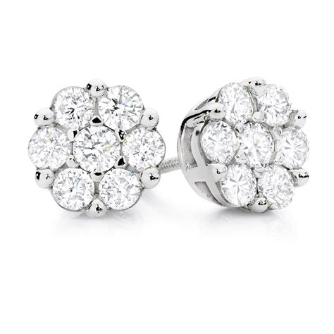 cluster stud earrings   carat tw  diamonds  ct