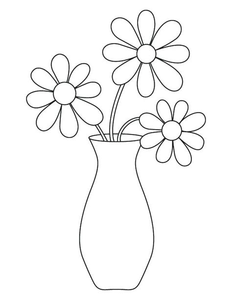 flower vase coloring page vase with flowers coloring page