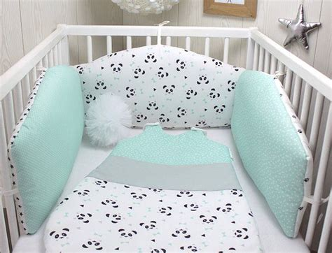 baby bumper of 3 reversible panels sea green white and black panda theme d 233 coration chambre