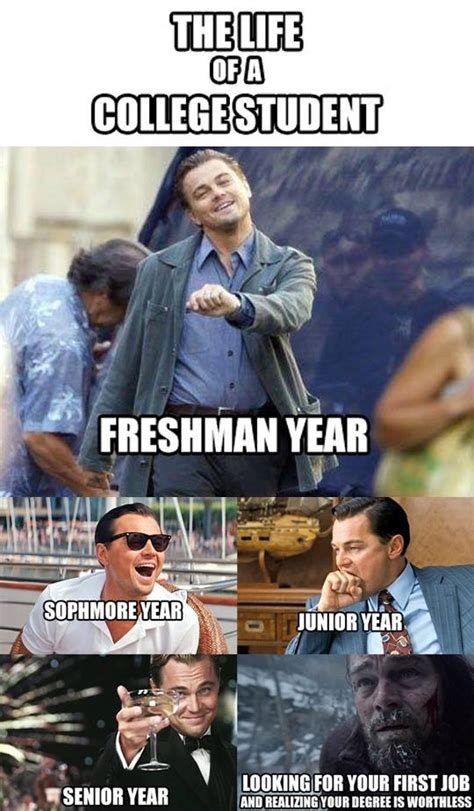 Memes About College - leonardo dicaprio life of a college student meme part time jobs blog