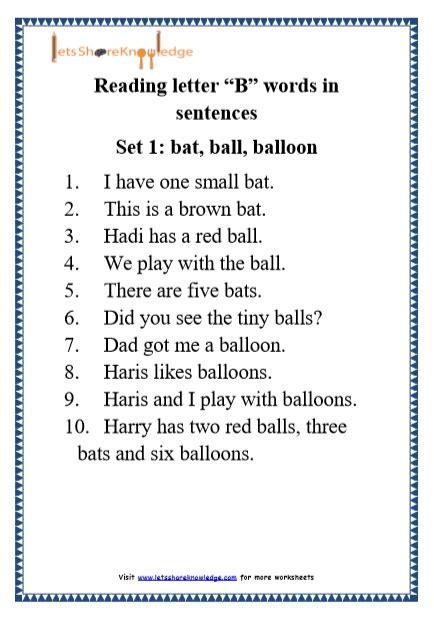 Letter Sentences by Kindergarten Reading Practice For Letter Quot B Quot Words In