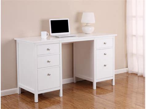 bureau a tiroir bureau albane 4 tiroirs 1 porte pin massif blanc