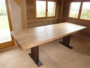 Table Plateau Bois : table plateau bois chene massif pietement acier recycl rbbois ~ Teatrodelosmanantiales.com Idées de Décoration