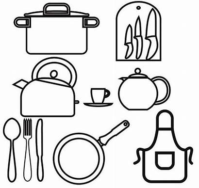 Utensils Kitchen Cooking Drawing Coloring Utensil Pages