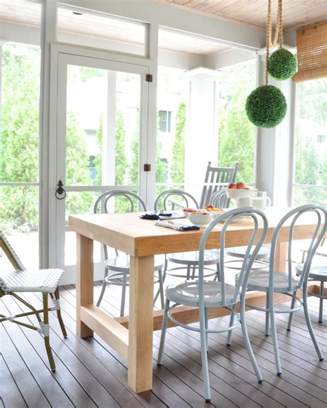 Porch Table Set by Screened Porch Updates Metal Bentwood Chairs And A Diy