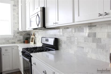 marble backsplashes for kitchens my diy marble backsplash honeybear 7364