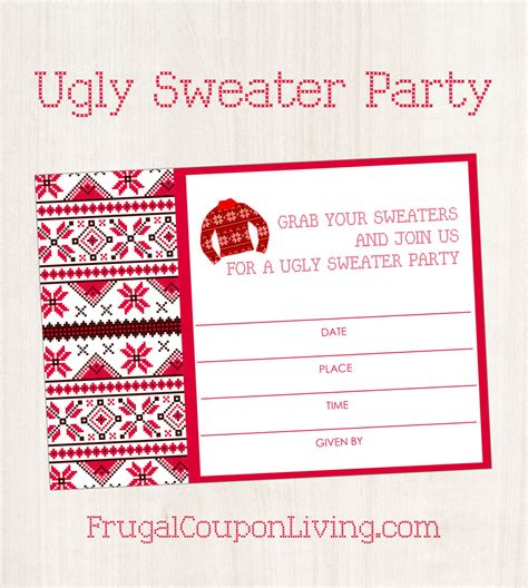 ugly sweater invite party printable christmas sweaters coupon frugal frugalcouponliving header living