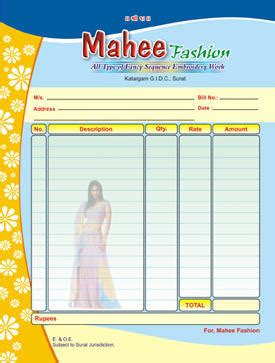 multi colour printed bill book  size  rs  number