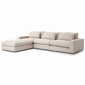 Cornerstone modern classic beige linen sectional sofa for Beige linen sectional sofa