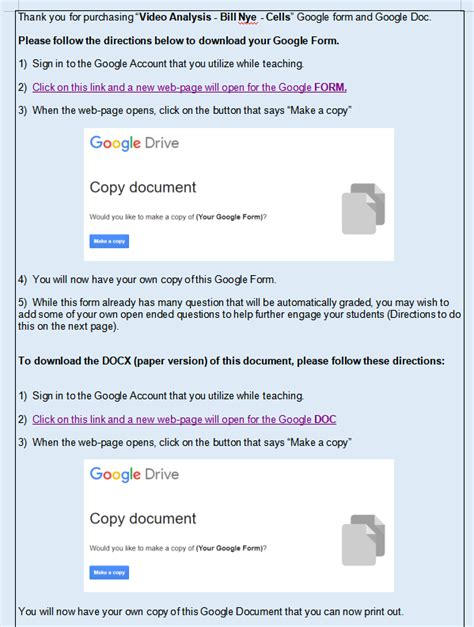 Video Analysis - Bill Nye - Cells (MS-LS1) Google Form AND ...