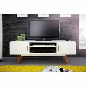 Meuble Tv Vintage : meuble tv blanc 2 portes 4 pieds ch ne vintage ~ Teatrodelosmanantiales.com Idées de Décoration