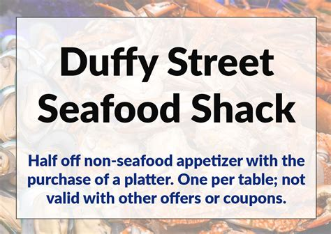 76514 Duffy Seafood Shack Coupons by Duffy Seafood Shack House Resort