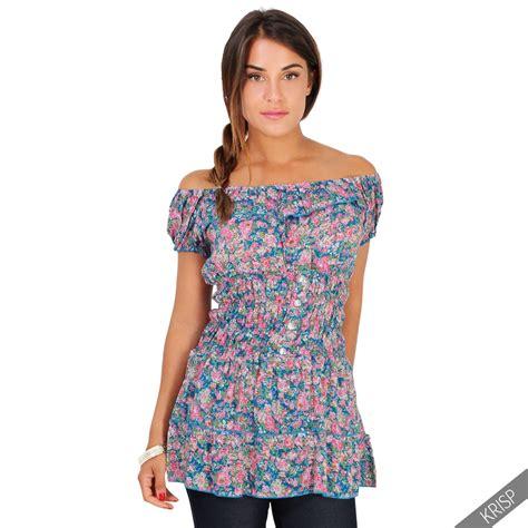 summer blouse floral shoulder elasticated waist boho