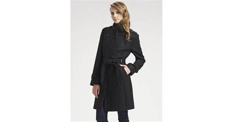 Cole Haan Belted Wool Coat In Black