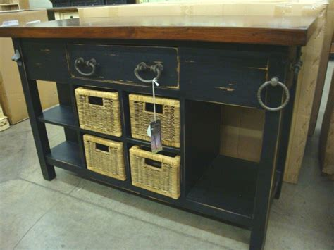 kitchen island cottage distressed french country  baskets