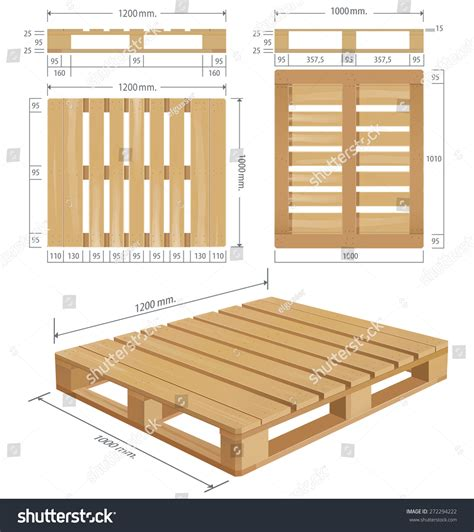 american wooden pallet perspective front side stock vector