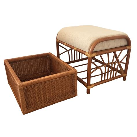 wicker chair with ottoman furniture traditional rattan ottoman with wicker storage