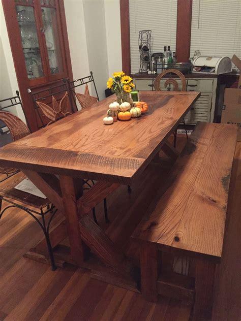 handmade reclaimed oak farm table   base  virginia