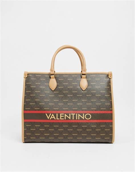 valentino  mario valentino babila logo tote  brown