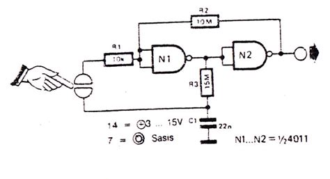 simple touch switch electronic circuit diagram  layout