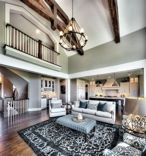 Open Living Room Floor Plans by Living Room Two Story Great Room Coastal Home Open