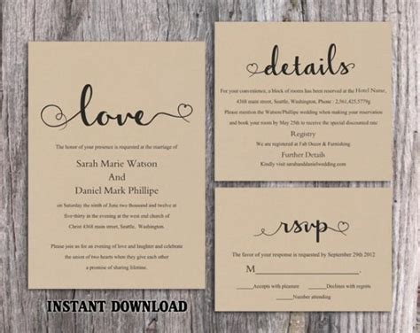 rustic wedding invitation templates diy burlap wedding invitation template set editable word file printable rustic wedding