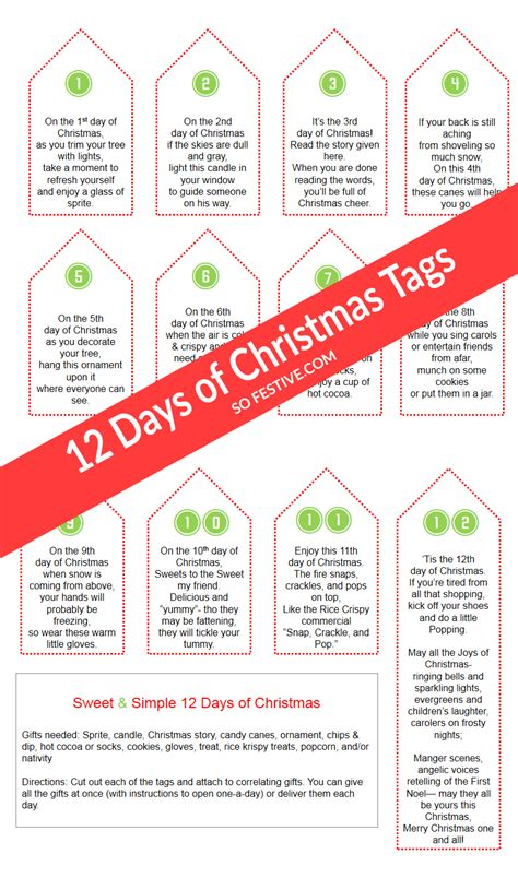 Sweet & Simple 12 Days Of Christmas + Printables  So Festive
