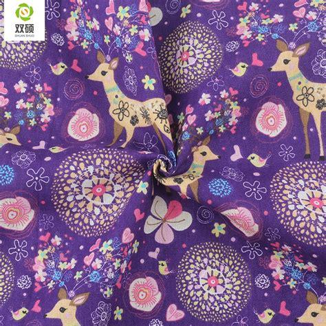 purple color deer pattern cotton linen metre fabric diy