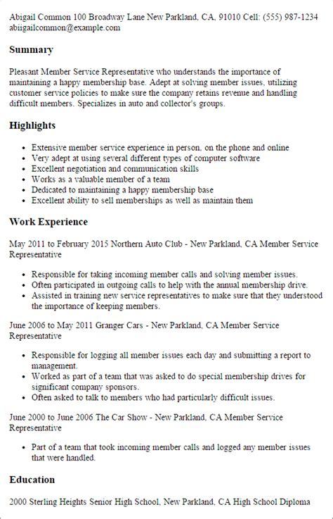professional member service representative templates to