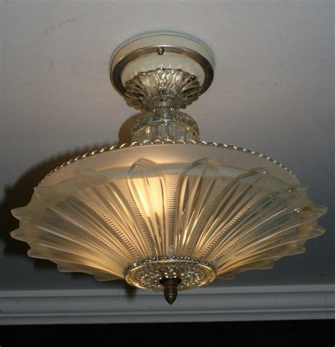 antique frosted glass sunflower deco light fixture ceiling chandelier 1940s ebay