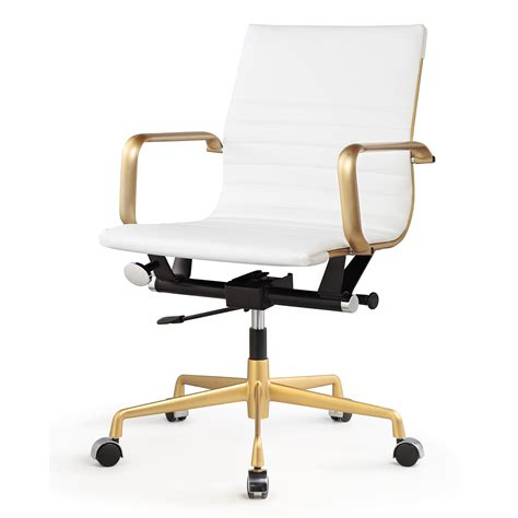 white and gold desk chair rachel george white vegan leather gold office chair low