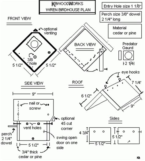 woodwork birdhouse plans wren pdf plans bird houses