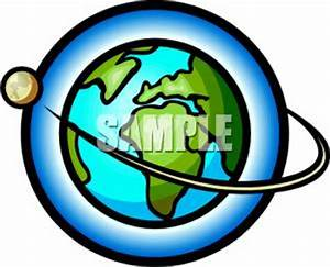A Moon In the Earth's Orbit - Royalty Free Clipart Picture