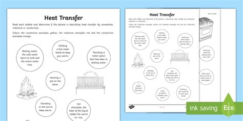 Heat Transfer Worksheet: Conduction, Convection and Radiation