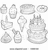 Desserts Ice Cream Cakes Illustration Clipart Coloring Pages Dessert Royalty Outlined Vector Visekart Cart Clip Background Mandala Template Clipartof sketch template