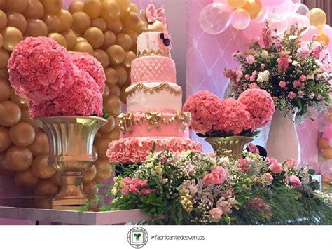 fiesta tematica de minnie en rosa  dorado