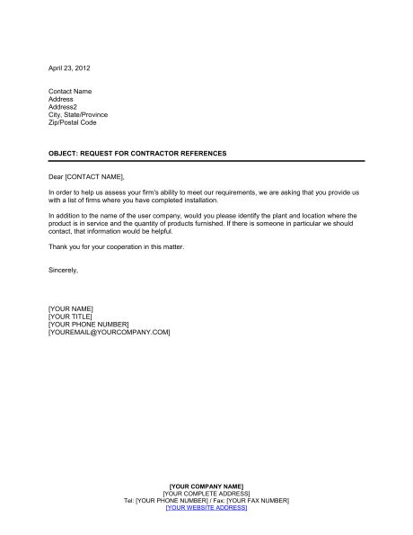 request  contractor references template sample form