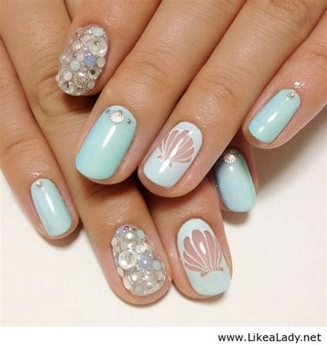 26 blue mermaid 40 awesome themed nail ideas