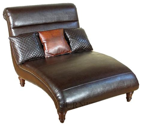 bonded brown leather chaise lounge with pillows