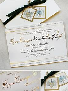 riona c classic family crest wedding With foil wedding invitations ireland