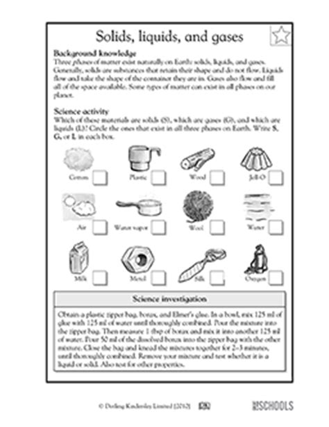 5th grade science worksheets solids liquids and gases