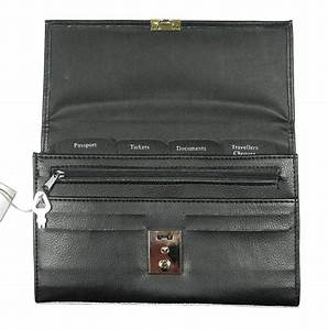 black leather look travel documents wallet passport With travel document purse