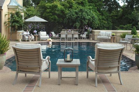 eclectic style with outdoor furniture modern pool