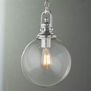 Clear glass globe industrial pendant a