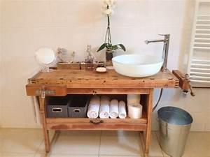 Waschtischunterschrank Selber Bauen : waschtisch aus einer hobelbank badezimmer vintage ~ Lizthompson.info Haus und Dekorationen